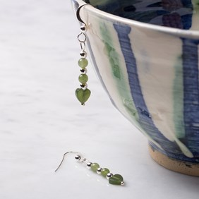 Jade Heart & Round Bead Earrings