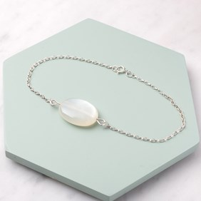 White Moonstone Oval Bead Bracelet