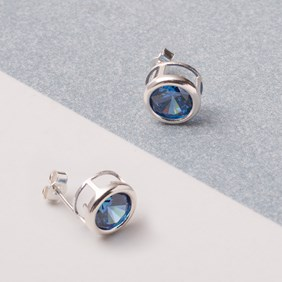 Sapphire Coloured Cubic Zirconia Backset Earrings