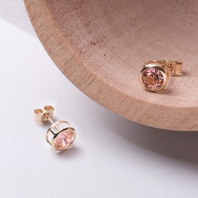 Gold & Candy Pink Backset Earrings