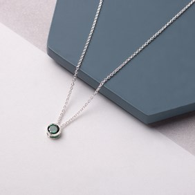 Green Cubic Zirconia Backset Necklace