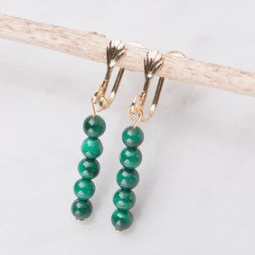 Gold & Malachite Ear Screws For Non Pierced Ears