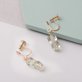 Gold & Green Amethyst Cube Ear Screws For Non Pierced Ears