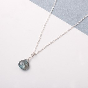 Moss Aquamarine Briolette Necklace
