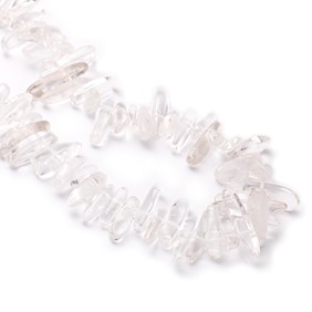 Crystal Quartz Long Chip Beads, Approx 12x7mm to 20x8mm