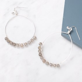 Labradorite Bead Hoop Earrings