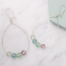 Rainbow Fluorite Hoop Earrings