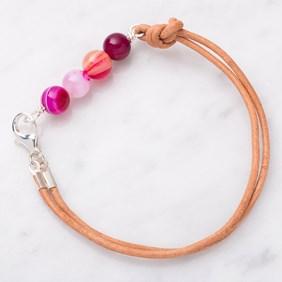 Pink Agate Bead Bar Bracelet