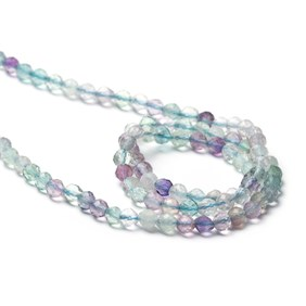 Fluorite Micro Faceted Round Beads, Approx 3.2mm