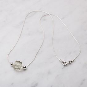 Green Amethyst Cube Beading Chain Necklace