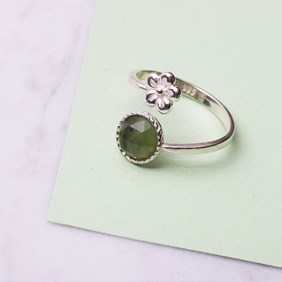 Sterling Silver Jade Flower Ring