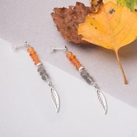 Autumnal Carnelian, Labradorite and Leaf Earrings