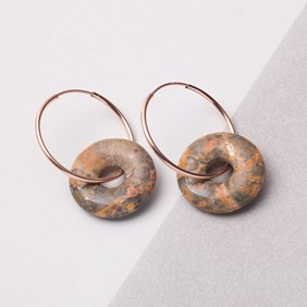 Rhyolite Donut Rose Gold Hoops