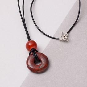 Brecciated Jasper Donut & Carnelian Necklace