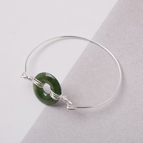 Jade Wire Wrapped Donut Bangle