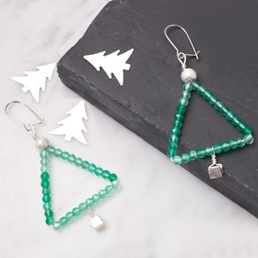 Green Onyx Christmas Tree Earrings