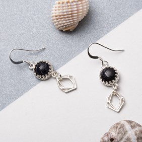 Blue Goldstone Charm Earrings