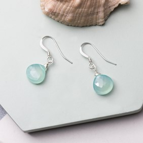 Wire Wrapped Aqua Blue Chalcedony Briolette Earrings