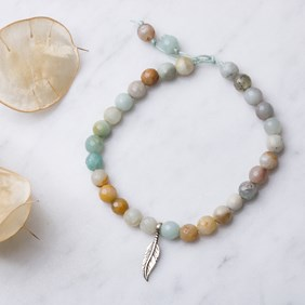 Amazonite & Feather Silkon Bracelet
