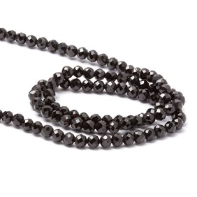 Black Onyx Faceted Round Beads, Approx 3mm
