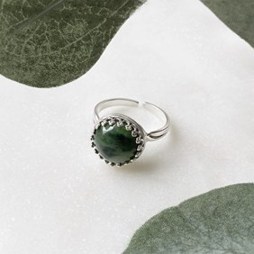 Nephrite Jade Gallery Wire Ring
