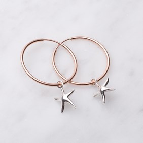 Rose Gold & Silver Starfish Hoop Earrings
