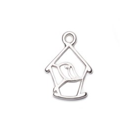 Sterling Silver Birdhouse Pendant Charm