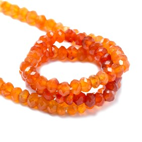 Carnelian Shaded Faceted Rondelle Beads, Approx 4x3mm