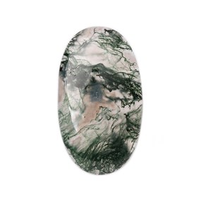 Green Moss Agate Oval Shape Flat Plate Cabochon, Approx 32x19mm