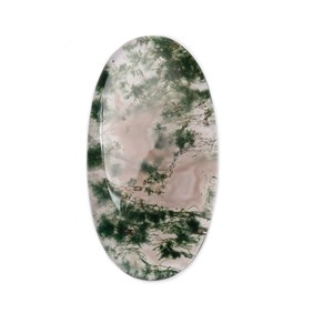Green Moss Agate Oval Shape Flat Plate Cabochon, Approx 35x19mm