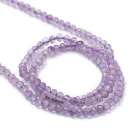 Amethyst Micro Faceted Round Beads, Approx 2.5mm