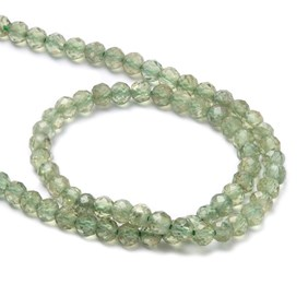 Green Apatite Micro Faceted Round Beads, Approx 3mm