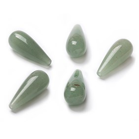 Green Aventurine Top Drilled  Teardrop Gemstone Beads, Approx 20x8mm