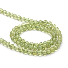 Peridot Facted Round Beads, Approx 3.5-4mm