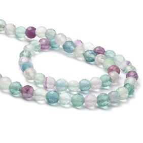Rainbow Fluorite Faceted Beads, Approx 6mm