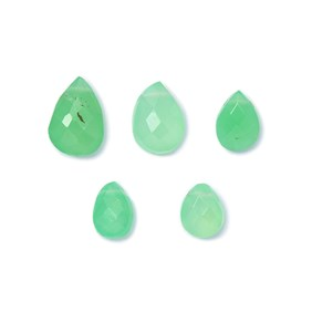 Chrysoprase Faceted Teardrop Briolettes, Approx 6-9mm