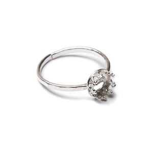 Sterling Silver Adjustable Gallery Wire Ring For 6mm Round Cabochon