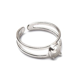 Sterling Silver Adjustable Ring with Decorative Claw For 5mm Round Cabochon