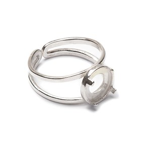 Sterling Silver Adjustable Ring with Decorative Claw For 8mm Round Cabochon
