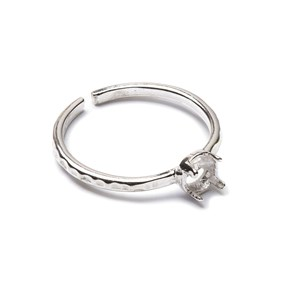 Sterling Silver Adjustable Textured Ring with Decorative Claw For 4mm Round Cabochon