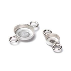 Sterling Silver Plain Edge Bezel Link Settings For Cabochon Stones