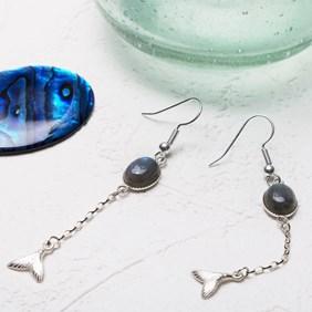 Blue Labradorite Mermaid Tail Drop Earrings