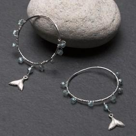 Blue Zircon Mermaid Tail Hoop Earrings