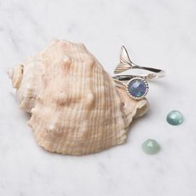 Opal Triplet Mermaid Tail Adjustable Ring