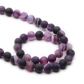 Purple Frosted Banded Agate Round Beads