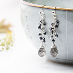Wire Wrapped Cluster Briolette Earrings