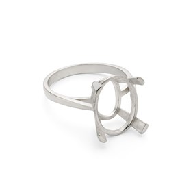 Sterling Silver Claw Ring for 14x10mm Oval Faceted Stone