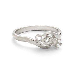Sterling Silver Ring for One 3mm & Two 2.5mm Faceted Stones