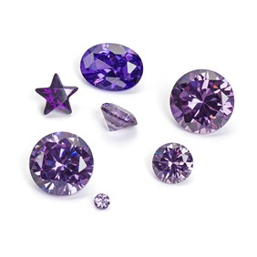 Amethyst Coloured Cubic Zirconia Faceted Stones