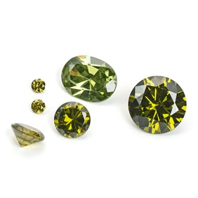 Olive Coloured Cubic Zirconia Faceted Stones